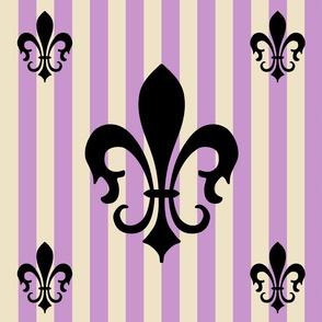 Fleur de Lis Stripe Pink Lavender