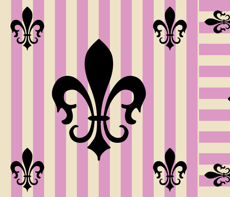 Fleur de Lis Stripe Pink fabric by laurijon on Spoonflower - custom fabric