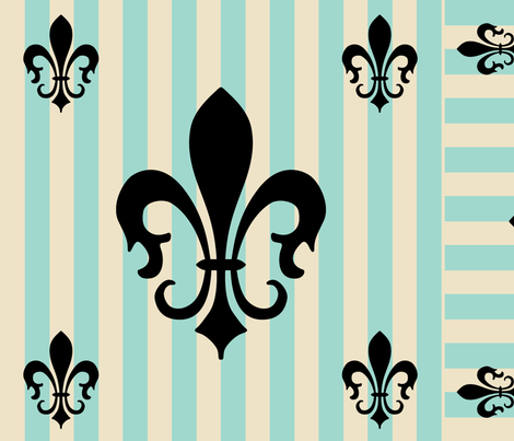 Fleur de Lis Stripe Blue-Green fabric by laurijon on Spoonflower - custom fabric