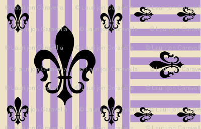 Fleur de Lis Stripe Lavender