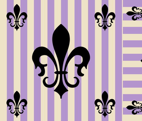 Fleur de Lis Stripe Lavender fabric by laurijon on Spoonflower - custom fabric