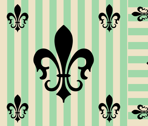 Fleur de Lis Stripe Green fabric by laurijon on Spoonflower - custom fabric