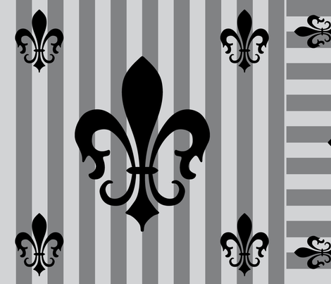 Fleur de Lis Stripe Gray-Charcoal fabric by laurijon on Spoonflower - custom fabric