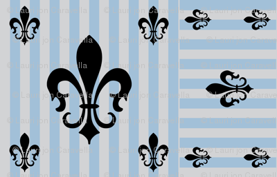 Fleur de Lis Stripe Blue-Gray on Gray