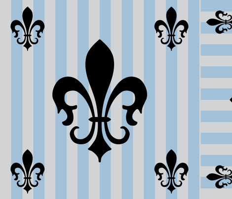 Fleur de Lis Stripe Blue-Gray on Gray fabric by laurijon on Spoonflower - custom fabric