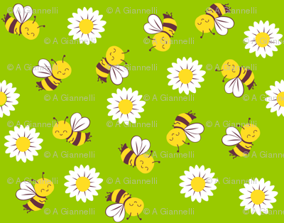 summer bees and daisies