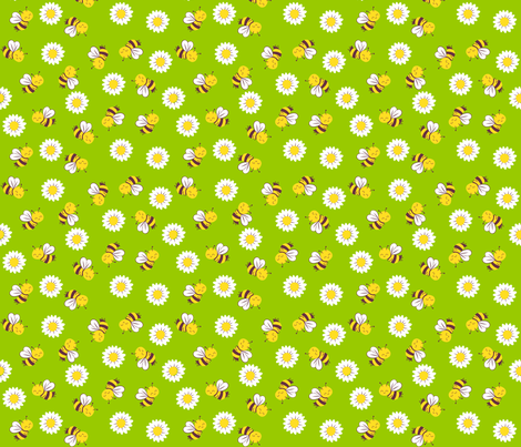 summer bees and daisies fabric by bubbledog on Spoonflower - custom fabric