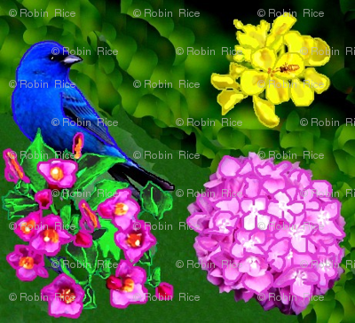 Blue Bird in Dream Garden