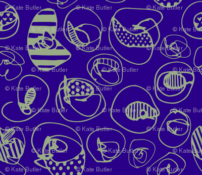 Sage Pattern Dots on Purple Blue