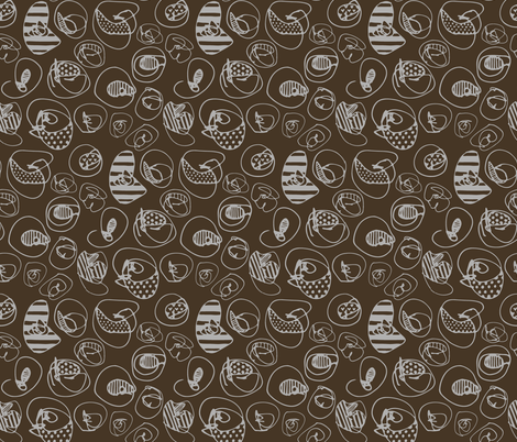 Silver Pattern Dots on Brown fabric by katebutler on Spoonflower - custom fabric