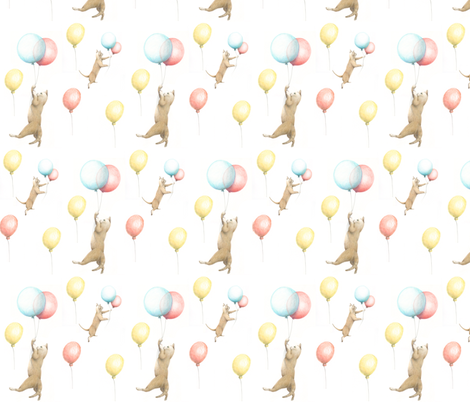 Cat and Balloons fabric by littleskipper on Spoonflower - custom fabric