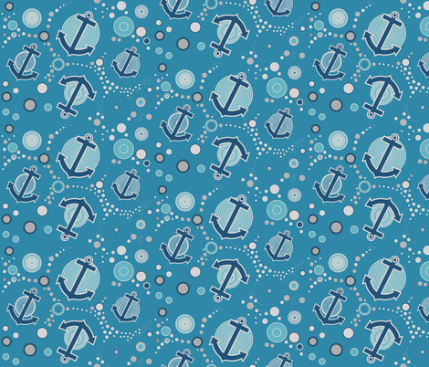 anchors in blue fabric by isabella_asratyan on Spoonflower - custom fabric