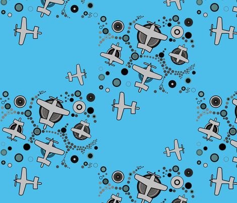 airplanes in blue sky  fabric by isabella_asratyan on Spoonflower - custom fabric