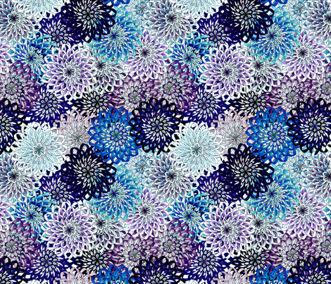 ribbon mums - blues fabric by glimmericks on Spoonflower - custom fabric