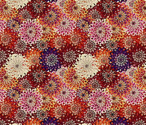 ribbon_mums - autumn fabric by glimmericks on Spoonflower - custom fabric