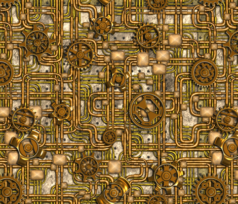 Steampunk Panel - Gears and Pipes - Brass fabric by bonnie_phantasm on Spoonflower - custom fabric