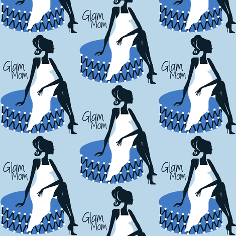 Glam Mom blue fabric by paragonstudios on Spoonflower - custom fabric