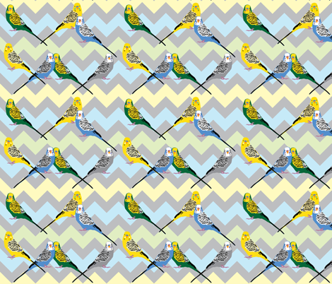 chevron-parakeets-multi2 fabric by owlandchickadee on Spoonflower - custom fabric