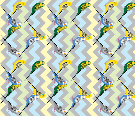 Parakeets - Chevron Multi fabric by owlandchickadee on Spoonflower - custom fabric