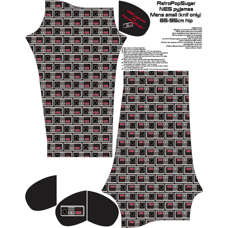 Mens small custom Geek Pyjamas fabric by retropopsugar on Spoonflower - custom fabric