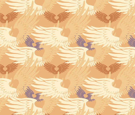Camo Heartwings II: Apricot & Lavender fabric by penina on Spoonflower - custom fabric