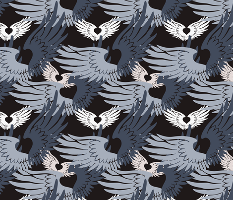Camo Heartwings II: Silvery Grays & Beige on Dark Gray fabric by penina on Spoonflower - custom fabric