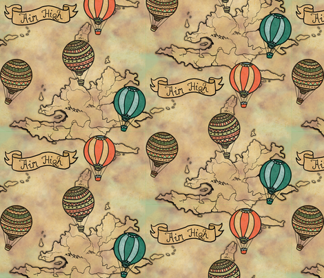 balloons_map_pattern fabric by lusyspoon on Spoonflower - custom fabric