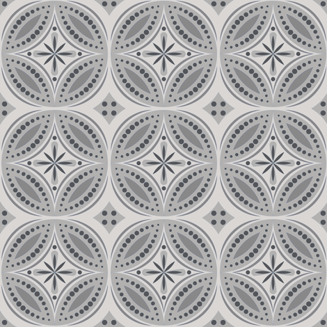 Moroccan Tiles (Gray) fabric by shannonmac on Spoonflower - custom fabric