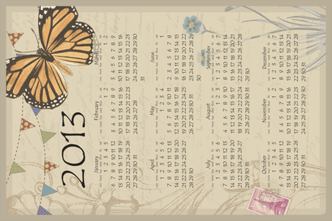 Butterfly calendar 2013 fabric by littlerhodydesign on Spoonflower - custom fabric