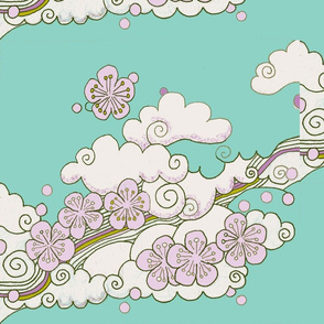 japanese clouds and blossom