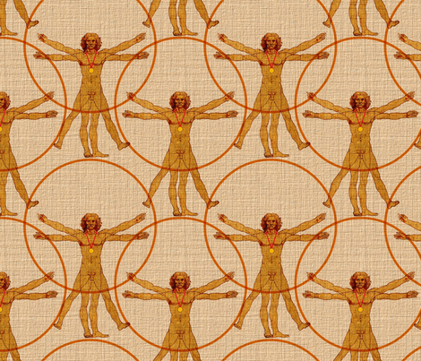 Vitruvian Man as Medalist fabric by vo_aka_virginiao on Spoonflower - custom fabric