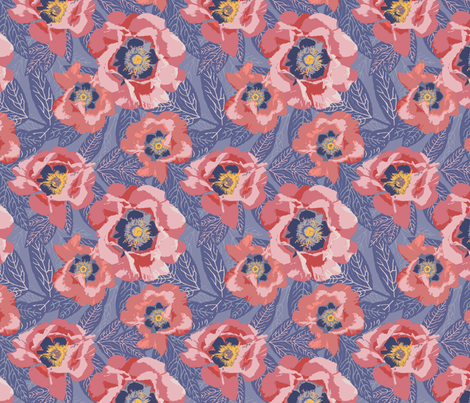 peonies in sunset beach fabric by creative_merritt on Spoonflower - custom fabric
