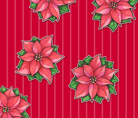 Poinsettia Joy on red stripes