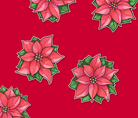 Poinsettia Joy on red