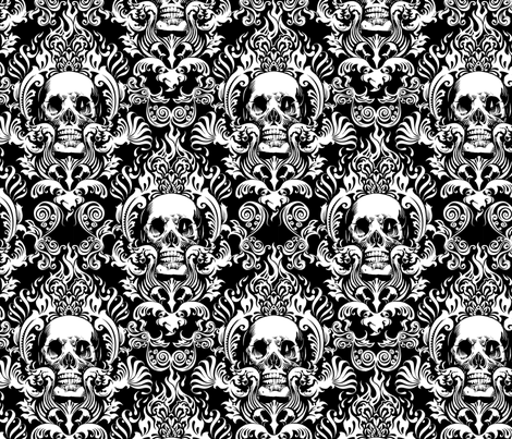 skull-damask-10inch-tall fabric by jimiyo on Spoonflower - custom fabric