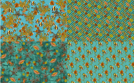 Starfish Quartet and the Singing Fish fabric by art_on_fabric on Spoonflower - custom fabric