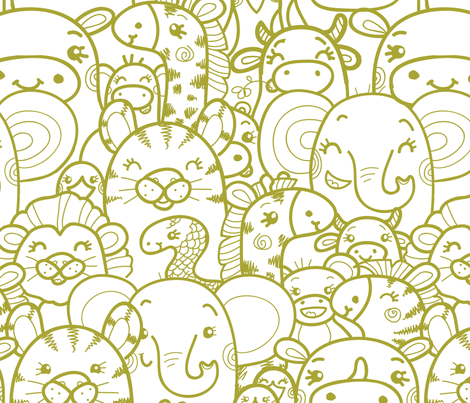 Wild Animals - Green fabric by oksancia on Spoonflower - custom fabric
