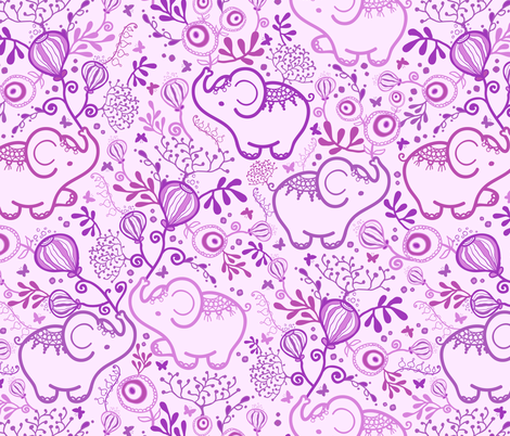 Purple Elephants With Bouquets fabric by oksancia on Spoonflower - custom fabric