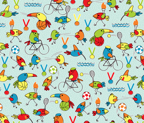 Birdlympics! fabric by jennartdesigns on Spoonflower - custom fabric