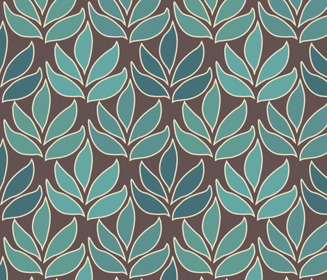 Leaf Texture Fabric new crop bluegreen minagreen brown 1b large fabric by mina on Spoonflower - custom fabric