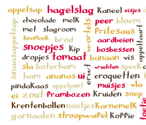 Dutch food words (Retro) - tea towel