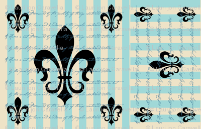 Fleur de Lis Stripe Blue with Text