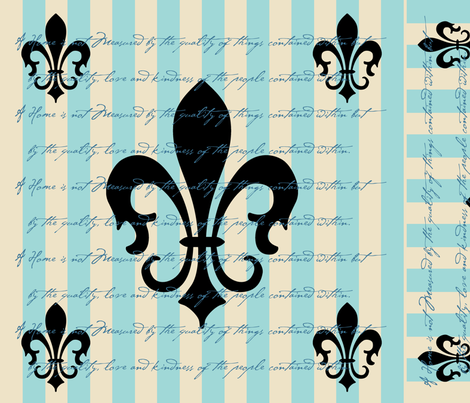 Fleur de Lis Stripe Blue with Text fabric by laurijon on Spoonflower - custom fabric