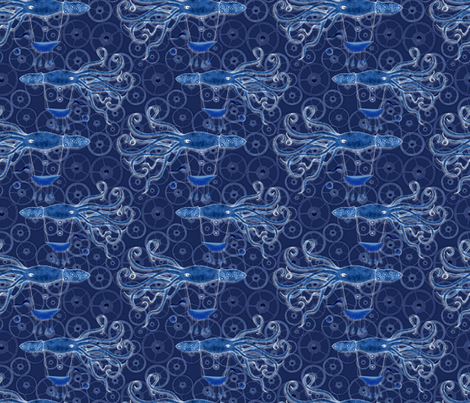 Blue Steampunk Squid fabric by vo_aka_virginiao on Spoonflower - custom fabric