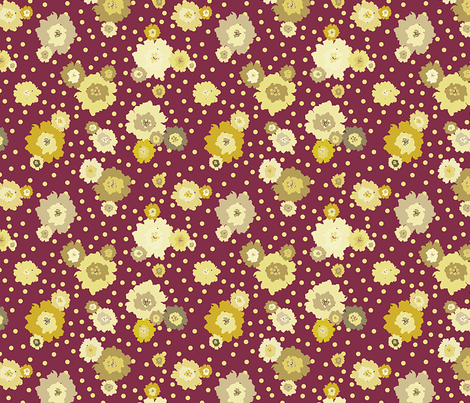 Mustard Polka Dot Marigolds fabric by donnamarie on Spoonflower - custom fabric