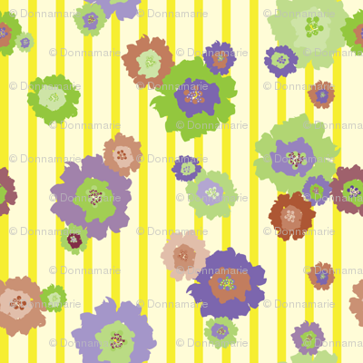 Splash Flowers Yellow Strips