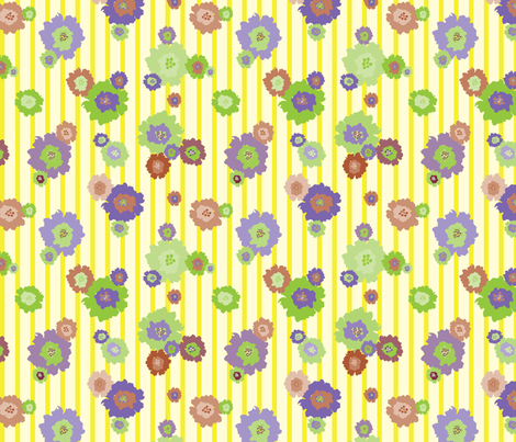 Splash Flowers Yellow Strips fabric by donnamarie on Spoonflower - custom fabric