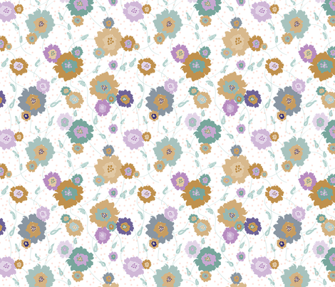 Brown Teal Flowers fabric by donnamarie on Spoonflower - custom fabric