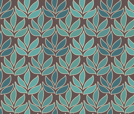 Leaf Texture Fabric new crop bluegreen minagreen brown 1b medium