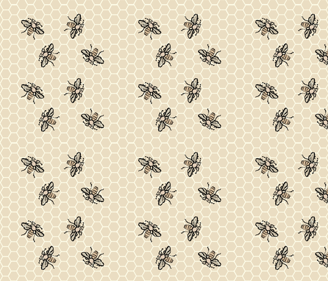 Honeybees-Dance-tan40 fabric by mina on Spoonflower - custom fabric